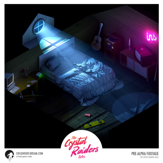 Chambre isometrie, the Crystal Raiders Tales, Bedroom isometric, indiegame, childhood dream, sci-fi, RPG
