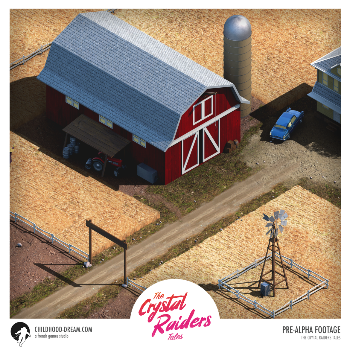 Ferme isometrie, the Crystal Raiders Tales, Barn Ranch isometric, indiegame, childhood dream, sci-fi, RPG